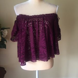 Free people beach lace ots top coverup EUC S
